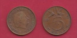 NEDERLAND, 1965, 2 Coins Of 5 Cent, Queen Juliana, Bronze, KM 181,  C3176 - [ 3] 1815-… : Kingdom Of The Netherlands