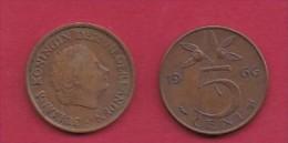 NEDERLAND, 1966, 2 Coins Of 5 Cent, Queen Juliana, Bronze, KM 181,  C3177 - [ 3] 1815-… : Kingdom Of The Netherlands