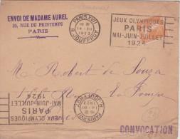 Lettre Jeux Olympique 1924 De La Rue Jouffroy - Summer 1924: Paris