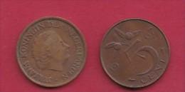 NEDERLAND, 1967, 2 Coins Of 5 Cent, Queen Juliana, Bronze, KM 181,  C3178 - [ 3] 1815-… : Kingdom Of The Netherlands