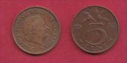NEDERLAND, 1950, 2 Coins Of 5 Cent, Queen Juliana, Bronze, KM 181,  C3169 - [ 3] 1815-… : Kingdom Of The Netherlands