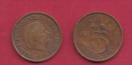 NEDERLAND, 1971, 2 Coins Of 5 Cent, Queen Juliana, Bronze, KM 181,  C3180 - [ 3] 1815-… : Kingdom Of The Netherlands