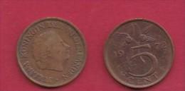 NEDERLAND, 1972, 2 Coins Of 5 Cent, Queen Juliana, Bronze, KM 181,  C3181 - [ 3] 1815-… : Kingdom Of The Netherlands