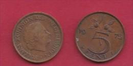 NEDERLAND, 1975, 2 Coins Of 5 Cent, Queen Juliana, Bronze, KM 181,  C3183 - [ 3] 1815-… : Kingdom Of The Netherlands