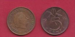 NEDERLAND, 1976, 2 Coins Of 5 Cent, Queen Juliana, Bronze, KM 181,  C3184 - [ 3] 1815-… : Kingdom Of The Netherlands