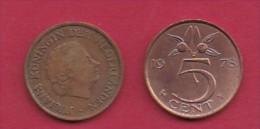 NEDERLAND, 1978, 2 Coins Of 5 Cent, Queen Juliana, Bronze, KM 181,  C3186 - [ 3] 1815-… : Kingdom Of The Netherlands