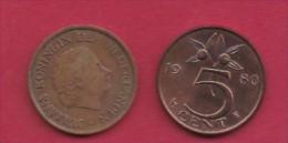 NEDERLAND, 1980, 2 Coins Of 5 Cent, Queen Juliana, Bronze, KM 181,  C3188 - [ 3] 1815-… : Kingdom Of The Netherlands