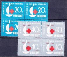URUGUAY - 1964 - Nr(s) Mi. 972. En/et 973 -Y&T 717 Et 718 - Feuille De 4x  Cent.de La Cruz Roja - ** - Uruguay