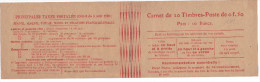 15701# CARNET VIDE SANS PUBLICITE 20 TIMBRES POSTE DE 0F.50 TARIF POSTAUX - Carnets