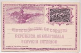 Guatemala Entier Postal Illustré D'un Train - Guatemala