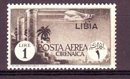 LIBIA POSTA AEREA 1941   N. 52  GRIGIO NERO NUOVO*  1 VALORE - Libye