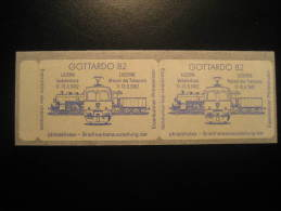 GOTTARDO 1982 Luzern Lucerne Adhesive 2 Poster Stamp Label Vignette SWITZERLAND Suisse - Treni