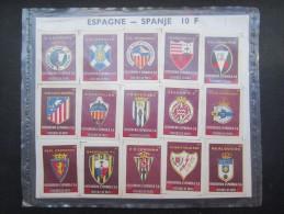 FOSFORERA ESPANOLA (M1531) FOSFOROS DE PAPEL (2 Vues) 15 étiquettes FOOTBALL Atletico, Zaragoza, Cordoba, Oviedo, Lacoru - Matchbox Labels