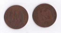 10 CENTIMES 1854 B  NAPOLEON III + 1854 BB LOT B13 - D. 10 Centesimi