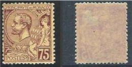 "Monaco YT 19 "" Prince Albert 1er 75c. Violet-brun S. Paille "" 1891-94 Neuf * - Neufs"