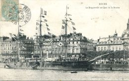 """N°44858 -cpa Rouen -le """"Bougainville""""   Au Quai De La Bourse- - Bateaux"""