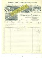 63 - Puy-de-dôme - CLERMONT-FERRAND - Facture CONCHON-QUINETTE - Manufacture De Vêtements – 1900 - REF 217 - 1900 – 1949