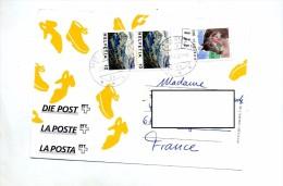Carte Demenagement Cachet Cortebert Sur Cheval Paysage Illustré Chaussure - Marcophilie