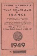 Carte D Adherent De L Union Des Vieux Travailleurs De France  1949 - Cartes