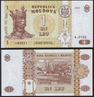 Moldova DEALER LOT ( 5 Pcs ) P 8 G - 1 Leu 2006 - UNC - Moldavia