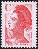 France N° 2616 ** LIBERTé DE GANDON - Lettre C ( 2.30 Frs ) Rouge - France