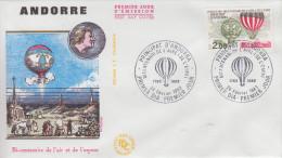 Enveloppe  1er  Jour  ANDORRE   Bicentenaire  De  L' AIR Et  L' ESPACE   1983 - Montgolfières