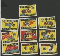10 étiquettes De Boites D´allumettes - Motos CZM Motocyclettes - Boites D'allumettes - Etiquettes