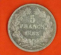 - 5 FRANCHI DEL 1833 - LOUIS PHILIPPE I° ROI DES FRANCAIS - ARGENTO - - J. 5 Franchi
