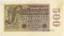 GERMANIA - GERMANY -  500 Million Mark Bank Note 1923 - PERIODO INFLAZIONE - 6s. 004654 - STAMPA SOLO AL VERSO - SPL - [ 3] 1918-1933: Weimarrepubliek