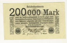 GERMANIA -  REICHSBANKNOTE 200000 Mark 9.8. 1923 VF #99b - PERIODO INFLAZIONE - STAMPA SOLO AL VERSO - SPL - [ 3] 1918-1933: Weimarrepubliek