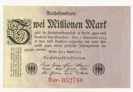 GERMANIA -  REICHSBANKNOTE 2 MILLIONEN Mark 1923 - PERIODO INFLAZIONE - 9AF 052740 - STAMPA SOLO AL VERSO - SPL - 2 Millionen Mark