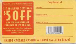 Planet Hollywood Inside Caesars Casino Atlantic City - Paper Card - Advertising