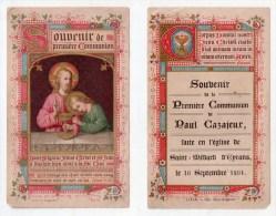 Eyrans, Image Pieuse 1re Communion Paul Cazajeur, 16/09/1894, église Saint-Médard - Santini