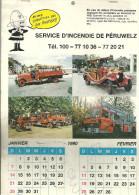 CALENDRIER DE 1990   SERVICE D'INCENDIE DE PERUWELZ - Grand Format : 1981-90