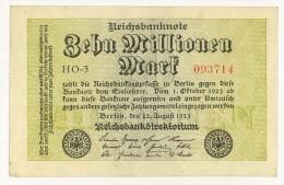 GERMANIA - 10 Millionen Mark 1923 - PERIODO INFLAZIONE - HO - 3 093714 - SPL - STAMPA SOLO AL VERSO - [ 3] 1918-1933 : Weimar Republic