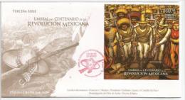 Les Révolutionnaires Mexicains (Révolution De 1910). Un Bloc-feuillet Dur FDC Officiel (Centenaire De La Révolution) - Mexique
