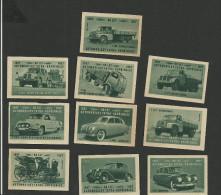 11 étiquettes De Boites D´allumettes - Voitures Et Camions - Matchbox Labels