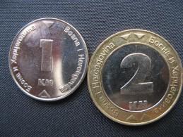 Coins  1 +2 Konvertibilna Marka - Bosnia And Hercegovina 2008. Unc - Bosnië En Herzegovina