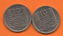 France- Turin - 10 Frs -1947B ( 2 Piéces , Petite Et Grosse Tete) En Cupro-nickel  Gadoury N° 810a-811 - K. 10 Francos