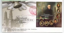 Bi-centenaire De L'Independance Mexicaine, Les Héros: Miguel Hidalgo,Ignacio Allende,etc. Un Bloc Feuillet Sur FDC - Mexique