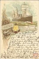 Allemagne - Carte Postale PAQUEBOT - WIELAND  - Seepost 1893 - Piroscafi