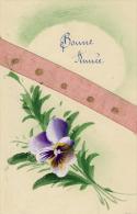 Bonne Année Fleur Pensée Ajoutis Ruban En Tissus Rose  Cpa  Peinte à La Main - Neujahr