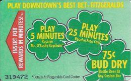 Fitzgerald´s Casino Las Vegas, NV - Paper Temporary Card - Casino Cards