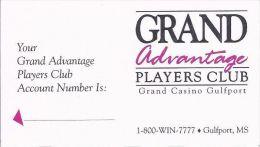 Grand Casino Gulfport - Paper Grand Advantage Players Club Card - Casino Cards