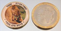 Togo 1500 CFA 2015 Bimetal + Couleurs Animal Lion - Togo