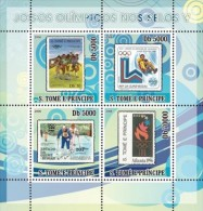 S. Tomè 2008, Olympic Stamps V, Football, Sking, Bobsleigh, Innsbruk, Atlanta, Lake Placid, 4val In BF - Winter 1932: Lake Placid