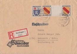 Fr. Zone R-Brief Mif Minr.9, 2x 10 Zw Reutlingen 5.11.47 - Zone Française
