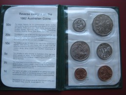 Australia 1982 6 Coin Set UNC 1 - 50 Cents XII Brisbane Commonwealth Games Green Wallet - Mint Sets & Proof Sets