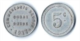 11 - AUDE - CUXAC D´AUDE - JETON NECESSITE COMMERCANTS REUNIS. 5 C. 1917. 5 CENTIMES ALU. - Monetari / Di Necessità
