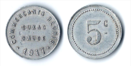 11 - AUDE - CUXAC D´AUDE - JETON NECESSITE COMMERCANTS REUNIS. 5 C. 1917. 5 CENTIMES ALU. - Monetary / Of Necessity